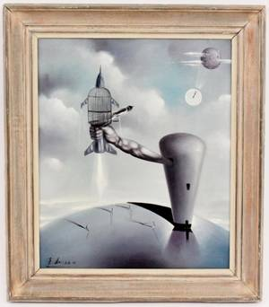 Surrealist Oil on Canvas Signed