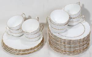 110199 GLADSTONE PORCELAIN TEA CUPS  TOAST PLATES