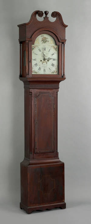 Philadelphia Federal mahogany tall case clock ca 1800