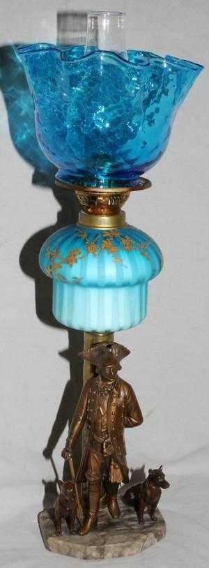 091262 BRASS  SATIN GLASS COMPOSITE OIL LAMP