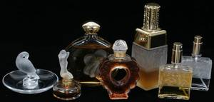 121281 LALIQUE CRYSTAL PERFUME BOTTLES  ONE CENDRIER