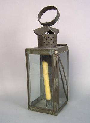 Tin hanging lantern mid 19th c