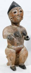 120196 AFRICAN CARVED  POLYCHROME WOOD FEMALE FIGURE