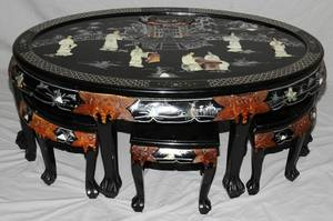 020246 CHINESE BLACK LACQUER LOW TABLE WITH 6 STOOLS