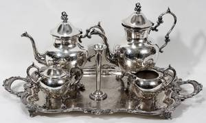 010225 B S CO SILVER PLATE COFFEE  TEA SERVICE