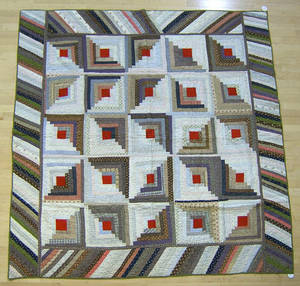 Green calico pieced quilt