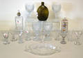 Group of glassware to include polychrome decorated steigel type bottle