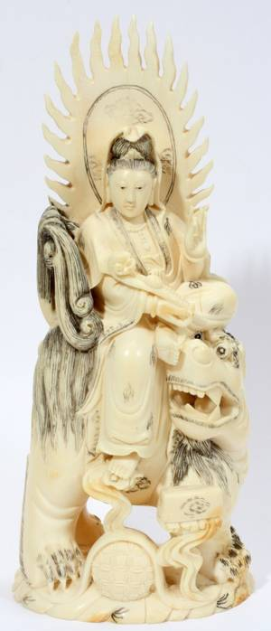 101353 CHINESE IVORY FIGURE C 1900 H 9 12