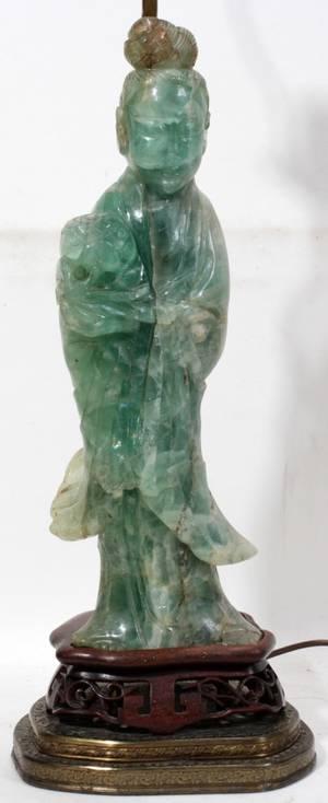 101351 CHINESE GREEN QUARTZ FIGURE C 1900 H 14 12