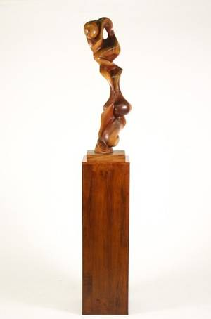 Contemporary Abstract Wood Sculpture Zarate