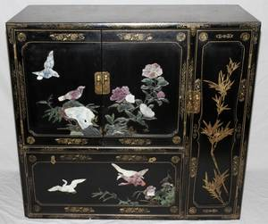 100165 CHINESE BLACK LACQUER ENTERTAINMENT CABINET