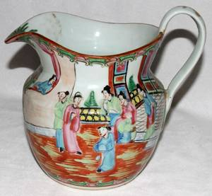 091290 CHINESE ROSE MEDALLION PORCELAIN PITCHER