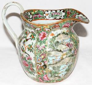 091285 CHINESE ROSE MEDALLION PORCELAIN PITCHER