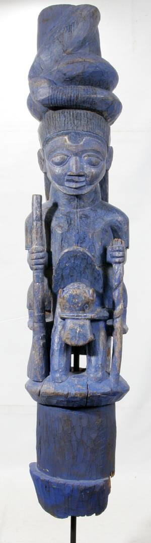 120210 YORUBA AFRICAN PAINTED CARVED WOOD HOUSE POST