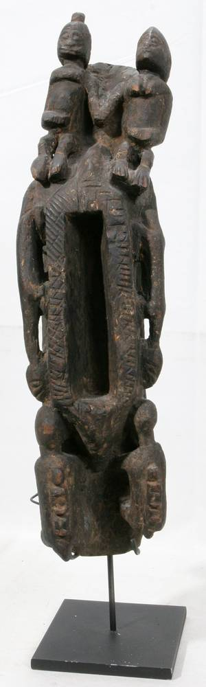 120208 DOGON AFRICAN CARVED WOOD SACRED BOWL H 23