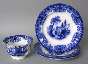 Three flow blue Athens plates