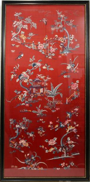 111360 CHINESE SILK EMBROIDERY 60 X 30 FRAMED