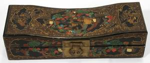 100240 CHINESE BLACK LACQUER JEWELRY BOX C 1900 H 4