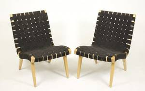 Pair of Jens Risom for Knoll Strap Lounge Chairs
