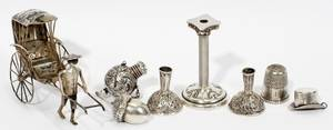 091333 STERLING  SILVERPLATE MINIATURES EIGHT PIECES
