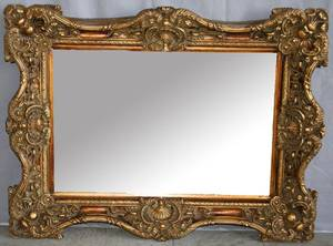 120280 GILT WOOD AND BEVEL GLASS MIRROR H 38 W 50