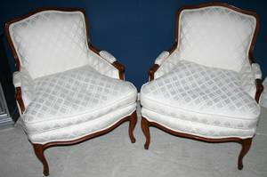 010303 FRENCH STYLE UPHOLSTERED ARM CHAIRS
