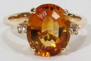 112357 14 KT YELLOW GOLD CITRINE AND DIAMOND RING