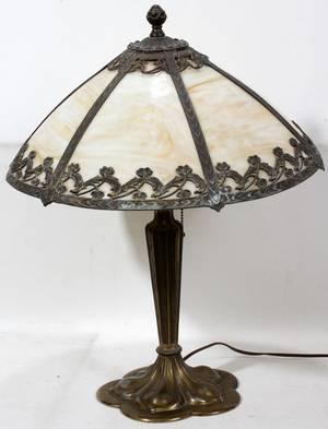 110300 ART NOUVEAU GILT METAL  SLAG GLASS LAMP