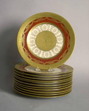 Set of 12 Royal Bavarian gilt decorated dinner plates