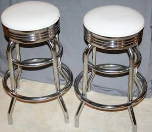 020357 ART DECO STYLE CHROME BAR STOOLS C1950 2 PCS
