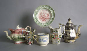 Six pcs of Staffordshire and ironstone to include Railway soup bowl