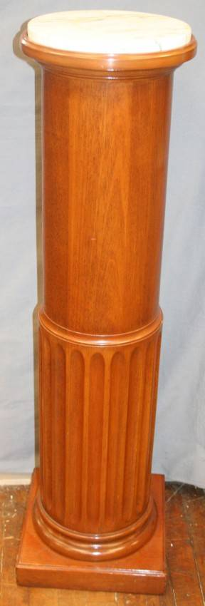 020353 FLUTED WOOD PEDESTAL WITH MARBLE TOP H 42