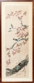 011439 JAPANESE WATERCOLOR ON SILK C 1950 29 X 9
