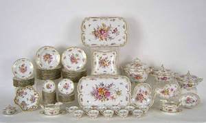 Large Dresden floral decorated dinner service