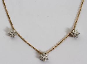 101478 14KT GOLD  DIAMOND FLORAL PENDANT NECKLACE