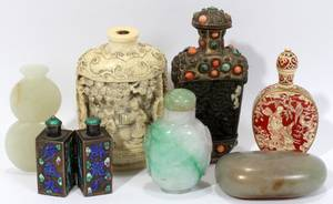 091427 CHINESE ENAMELED METAL STONE  SNUFF BOTTLES