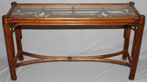 111484 RATTAN GLASS TOP SOFA TABLE H 28 W 17 L 49