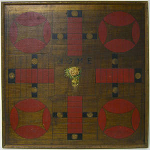 Painted parcheesi board early 20th c