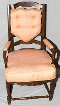 100380 LADDER BACK MAHOGANY OPEN ARM CHAIR H 44