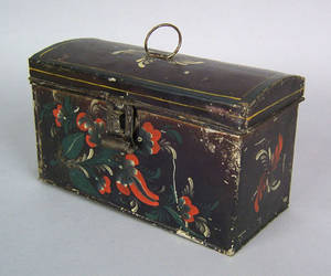 New York toleware dome top document box ca 1820