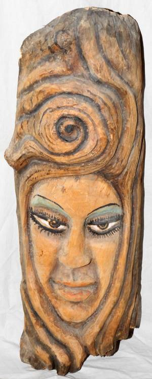 100370 HAITIAN CARVED TREE BARK MASK SCULPTURE H 32
