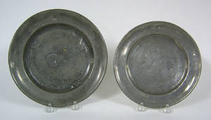 Two Philadelphia Love pewter plates late 18th c