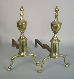 Pair of New York Federal brass andirons ca 1805