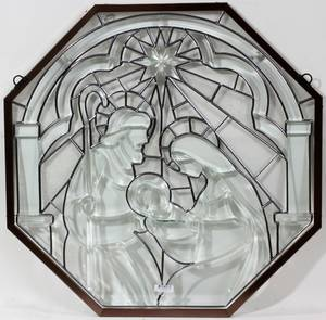 012458 AMIA CLEAR LEADED GLASS NATIVITY WALL HANGING