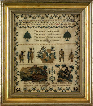English silk on linen needlework dated 1858 wrought by Ann Bayley Pettipher