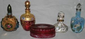 011502 GLASS  PORCELAIN PERFUME BOTTLES 4  A BOX
