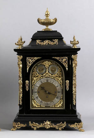 German ebonized and ormolo mounted shelf clock with wall bracket 19th c