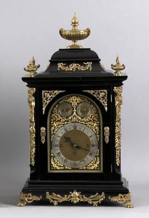 German ebonized and ormolo mounted shelf clock with wall bracket 19th c
