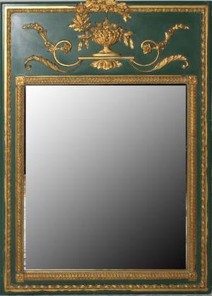 121511 GREEN TRUMEAU MIRROR WITH GOLD ACCENTS