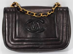 111527 CHANEL NAVY BLUE LEATHER BAG W 7